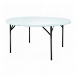 Table ronde polypro pliante en plastique