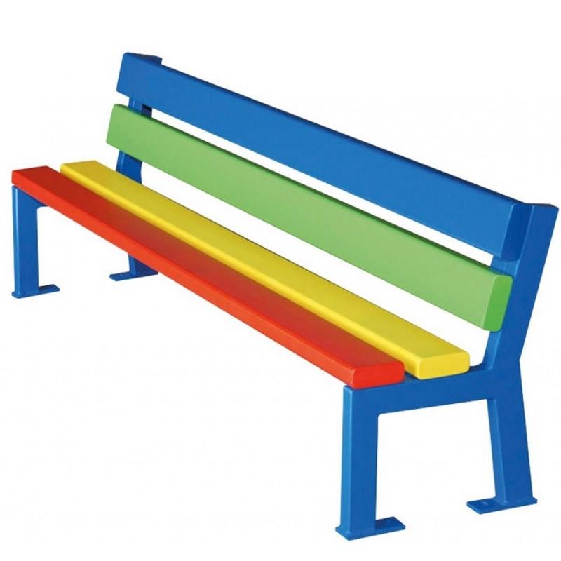 Banc color ext rieur pour enfant banc color l 150 cm banc color en m tal - Banc metallique exterieur ...