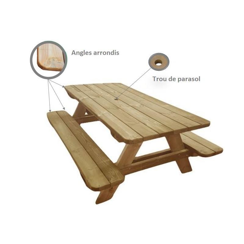 table de pique nique en bois avec bancs int gr s table de. Black Bedroom Furniture Sets. Home Design Ideas