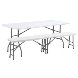Lot 10 tables polypro pliantes 183x76 cm + 20 bancs pliants polypro assortis