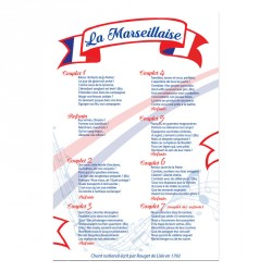 "Plaque paroles ""la marseillaise"" PVC ou PLEXI Loi Blanquer"