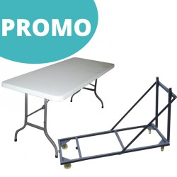 Lot de tables polypro pliantes 183x76 cm + 1 chariot de transport