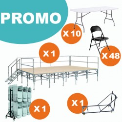 LOT COMPLET PODIUM MODULABLE + TABLES + CHAISES + 2 CHARIOTS