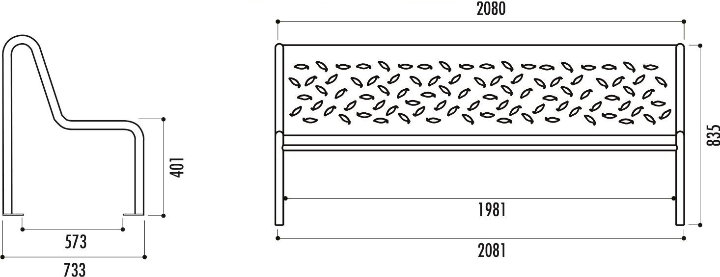 dimensions du banc public en métal - cofradis