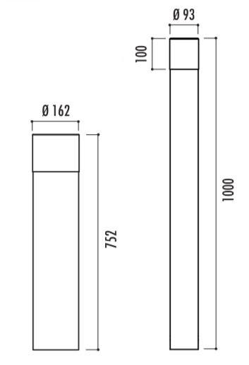 Dessin technique et dimensions des bornes de ville en métal - Cofradis Collectivités