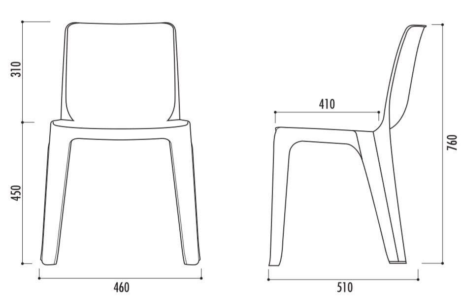 dimensions de la chaise de collectivité DENVER - Cofradis Collectivités