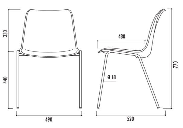 Dessin technique des chaises à coque diamètre 18 mm Hélène - Cofradis