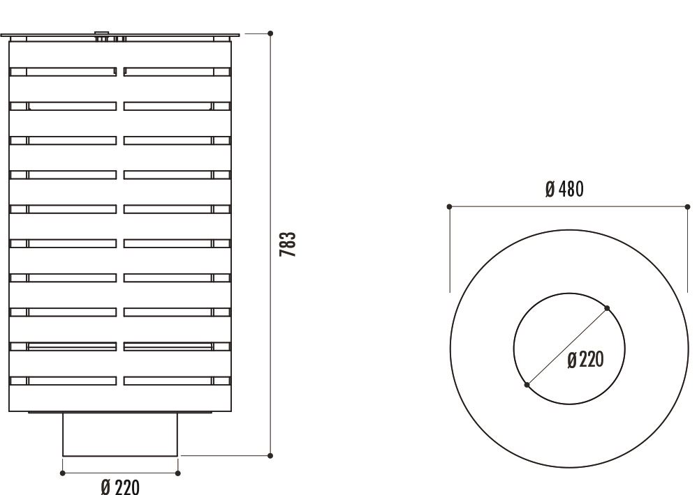 dimensions de la corbeille urbaine portalo - cofradis