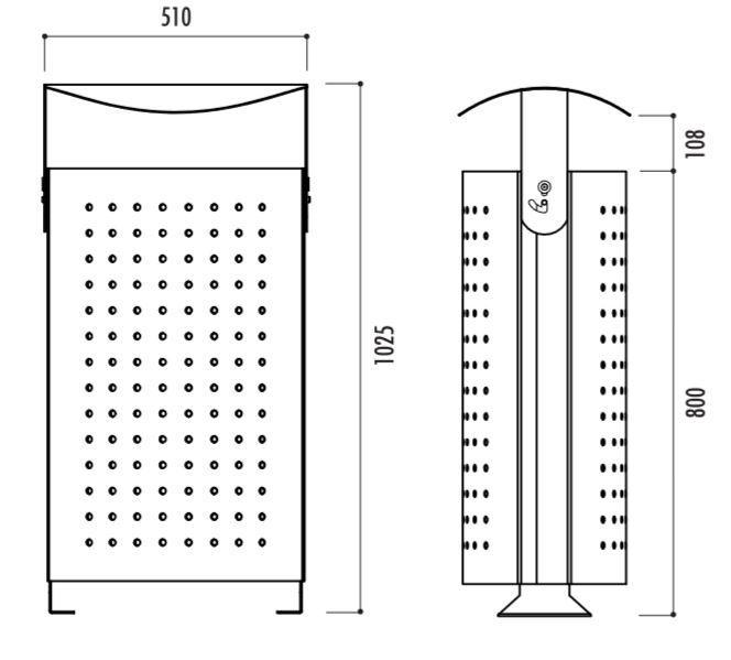 Dessin technique et dimensions de la poubelle de ville Arco - Cofradis
