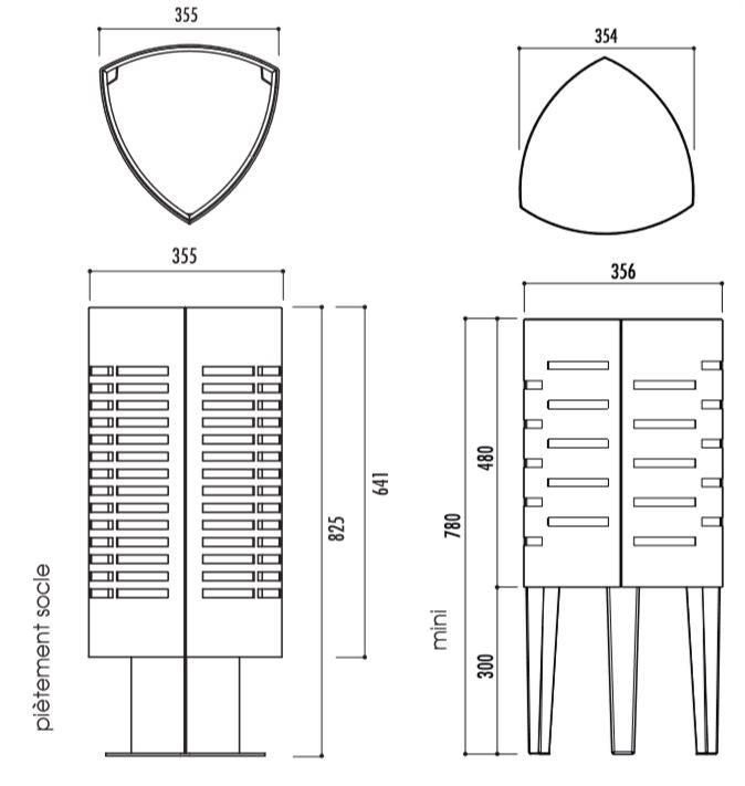 dimensions de la poubelle de rue Sofia - cofradis