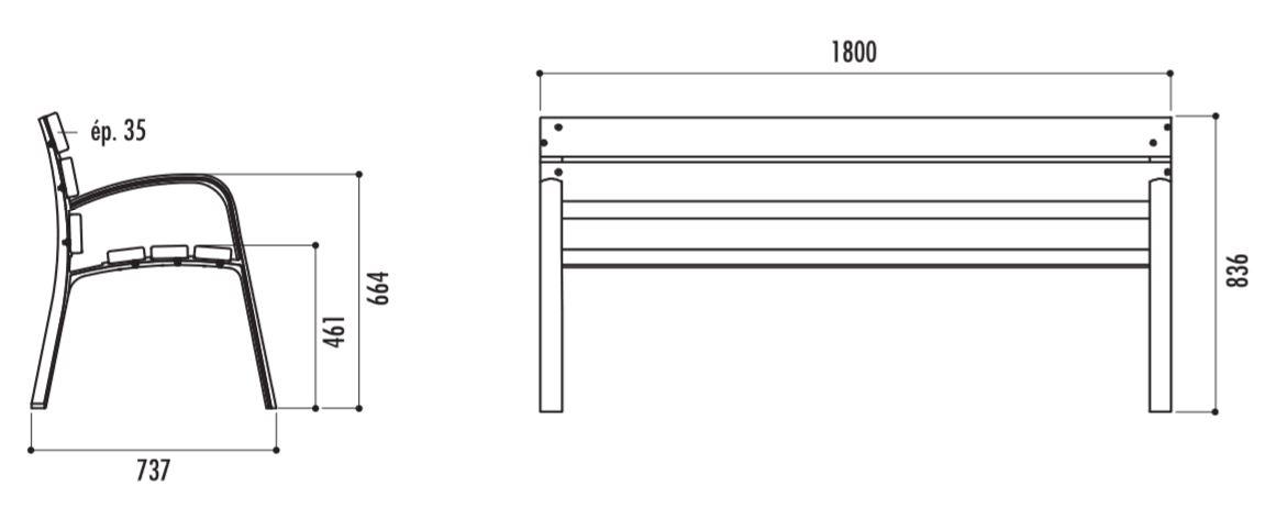 Banc Modo en Pin avec accoudoirs- dessin technique et dimensions - Cofradis