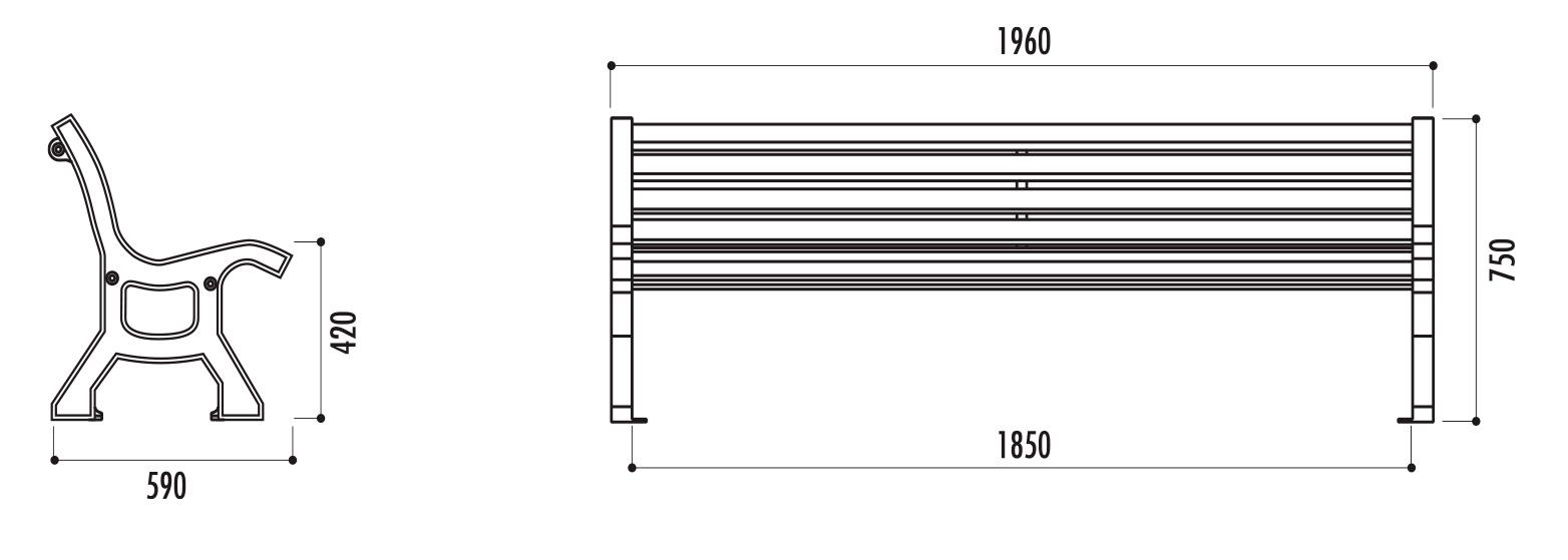 dimensions du banc public en bois bastide - Cofradis