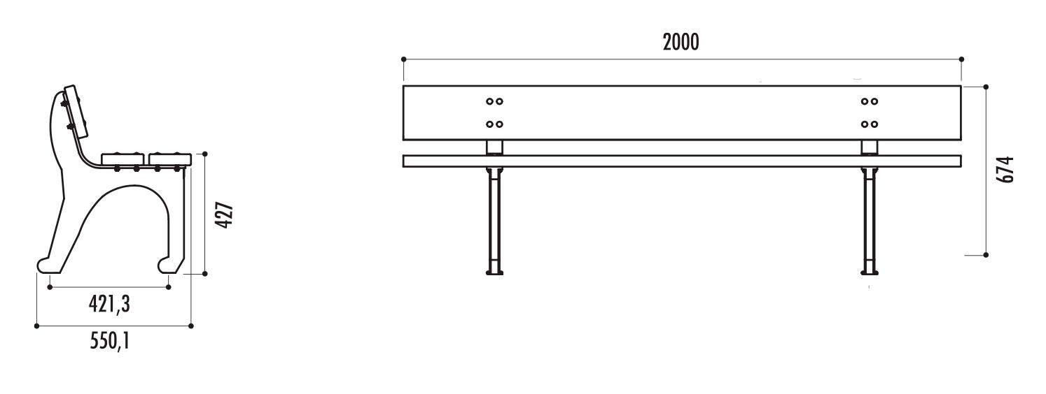 dimensions du banc public en bois et fonte Bilbao - Cofradis