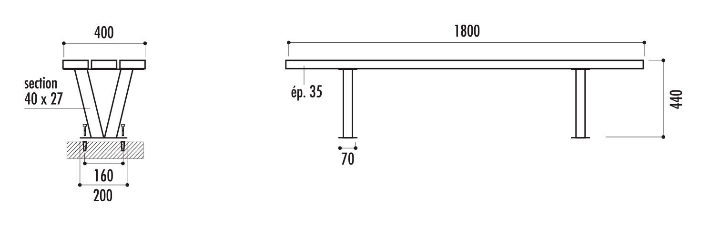 dimensions de la banquette de ville en bois - cofradis