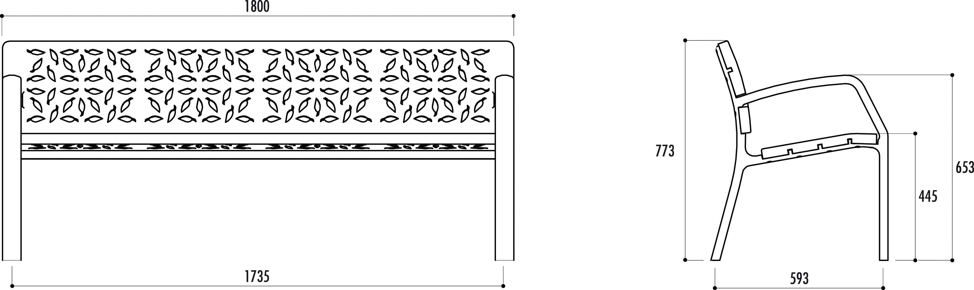 dimensions du banc public métal forest - cofradis