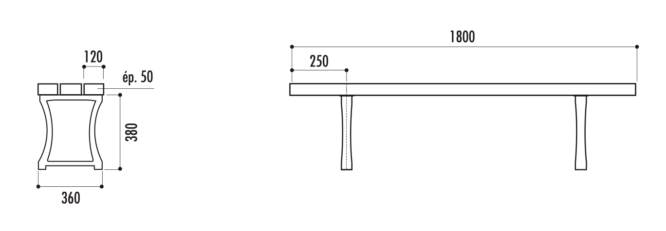 dimensions du banc public en recyclé - cofradis