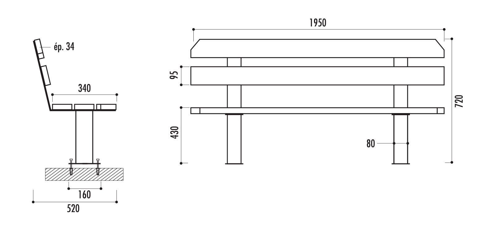 dimensions du banc public en bois - cofradis