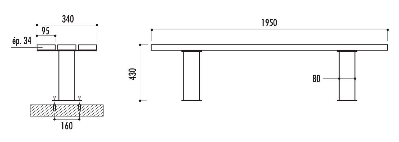 dimensions de la banquette urbaine en bois - cofradis