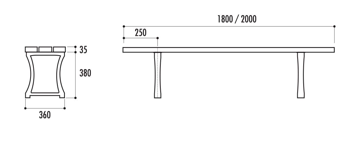 dimensions de la banquette urbaine pampelune cofradis