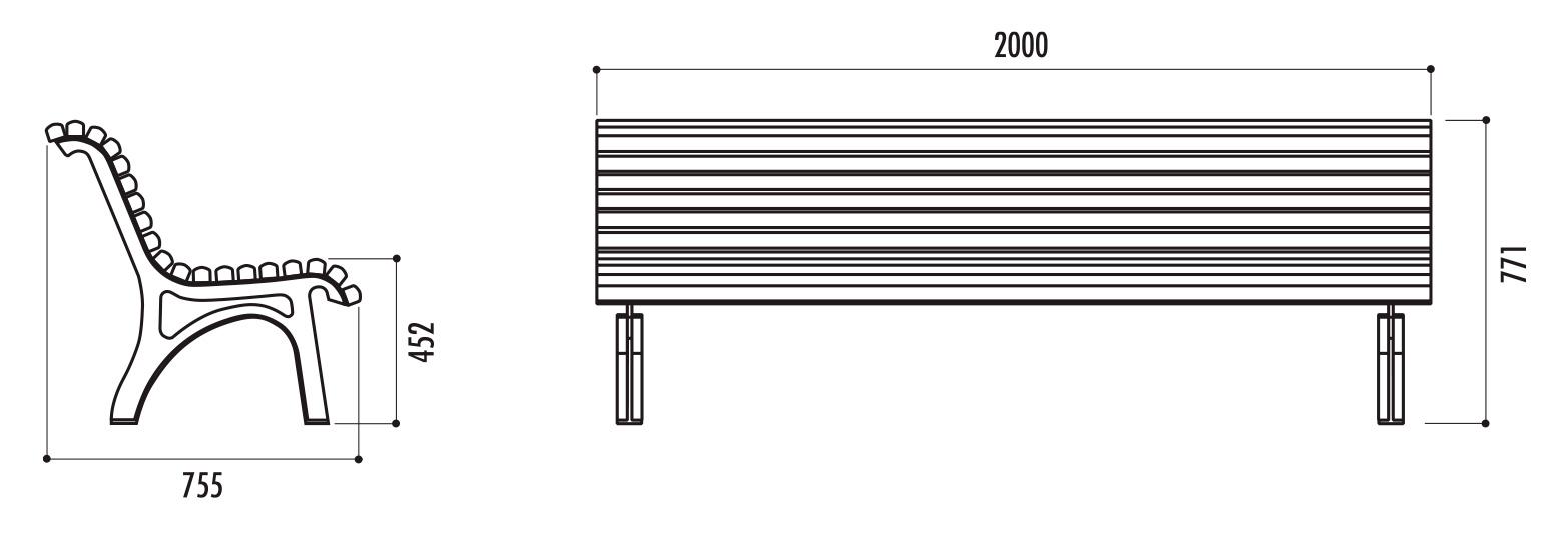 dimensions du banc public plaza - cofradis