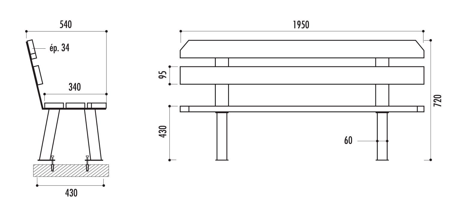 dimensions du banc public seattle - cofradis