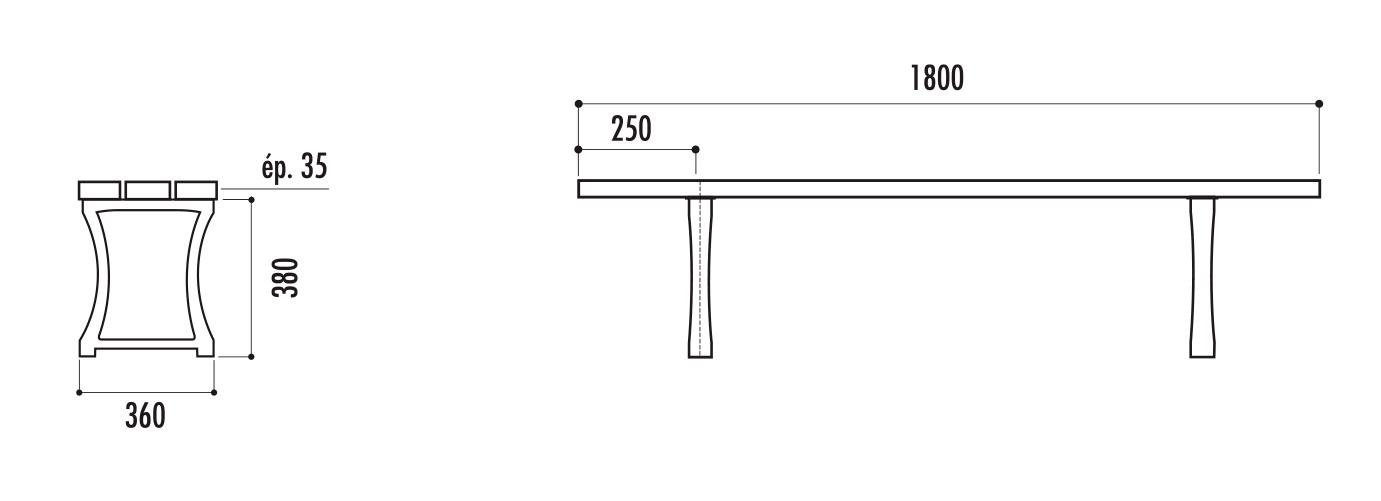 schéma technique de la banquette publique en bois et fonte - Cofradis