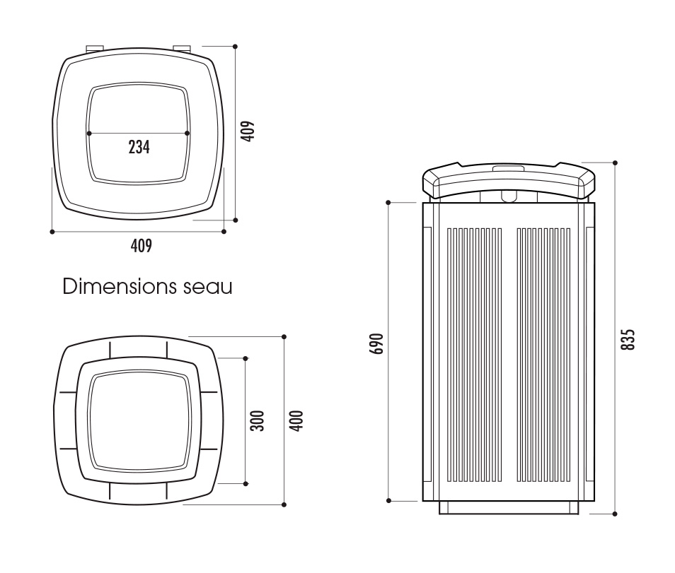 dimensions de la corbeille urbaine en plastique toscana - cofradis