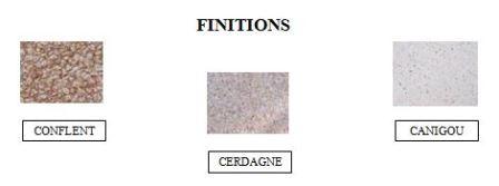 Finitions disponibles pour le banc public en béton Persei - Cofradis Collectivités