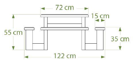Dimensions de la table pique-nique en plastique recyclé pour enfants - Cofradis collectivités