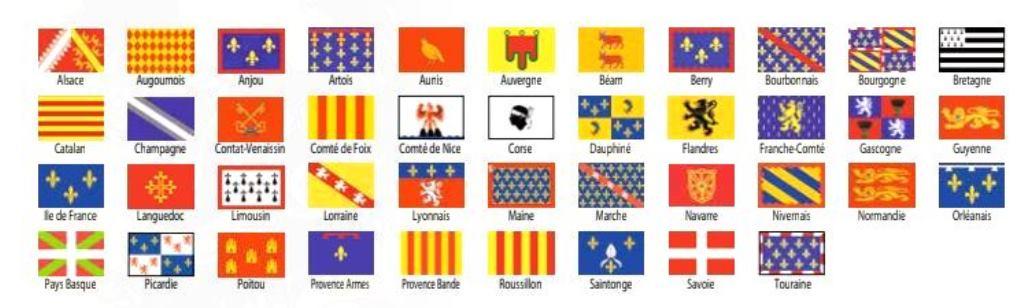 Les drapeaux des provinces historiques