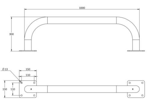 arceau de bordure longueur 1m - cofradis collectivies