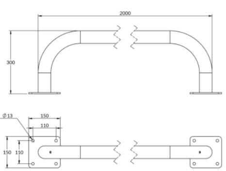 arceau de bordure en acier longueur 2 m - Cofradis Collectivités