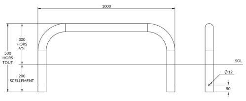 dimensions de l'arceau de protection bas - cofradis collectivités