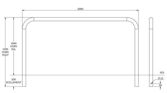 dimensions de l'arceau de sécurité jaune et noir - Cofradis Collectivités