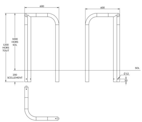 dimensions de l'épingle de protection pour candélabre - cofradis collectivités