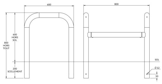 dimensions de l'étrier de protection longueur 800 mm - cofradis collectivités