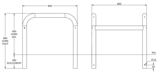 dimensions des étriers de protection 4 pieds à sceller - cofradis collectivités