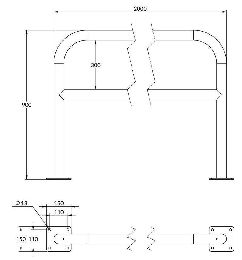 Schémas arceau acier avec barre de renfort 2 m