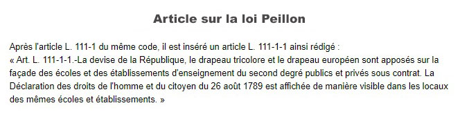 Article de la loi Peillon