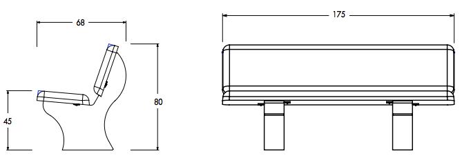 dimensions du banc extérieur en béton LISBOA - Cofradis Collectivités