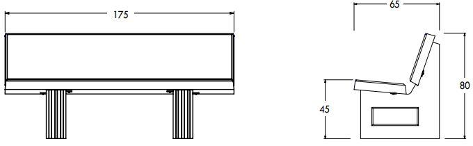 dimensions du banc public extérieur en béton - cofradis collectivités