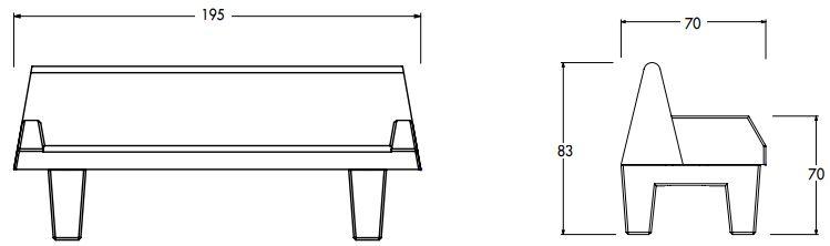 Dimensions du canapé urbain en béton - Cofradis Collectivités