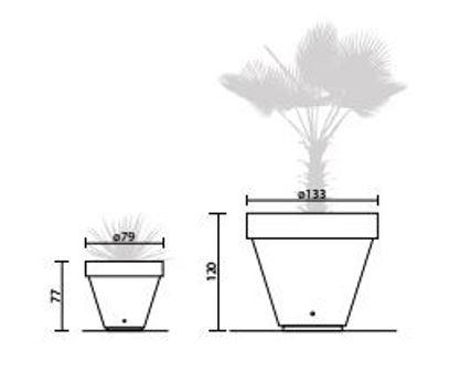 Schéma des deux jardinières pots de fleurs disponibles en béton - Cofradis Collectivités