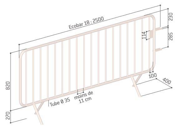 Dessin technique de la barrière de police Ecobar 18 barreaux - Cofradis