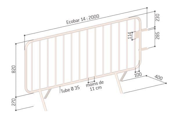 Dessin technique de la barrière de foule Ecobar - Cofradis