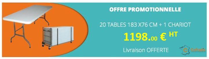 promotion tables pliantes en polypro - cofradis collectivités