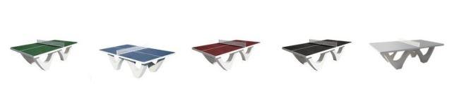 Les différents coloris de plateau disponible pour la table de ping pong en béton - Cofradis Collectivités