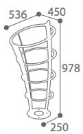 dimensions du support sac vigipirate en acier - cofradis collectivités