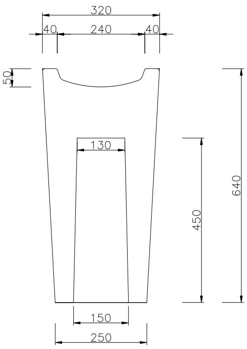 dimensions du cendrier extérieur en béton FUJI - cofradis collectivtés