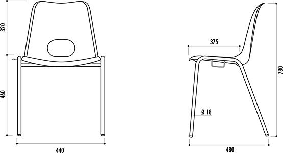 schéma technique de la chaise à coque bologne - cofradis-collectivites